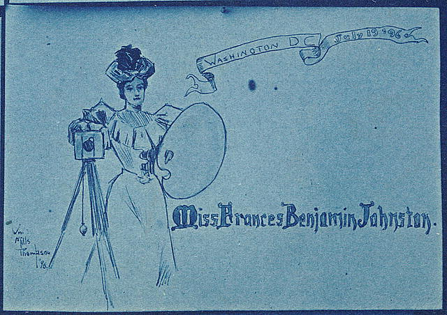 [Portrait placecard for Frances Benjamin Johnston, one of 16 unique miniatures by Mills Thompson]