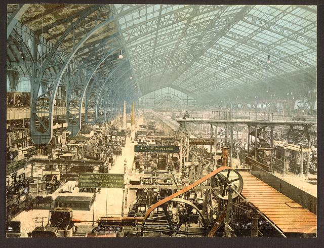 [Interior view of the Gallery of Machines, Exposition universelle internationale de 1889, Paris, France]