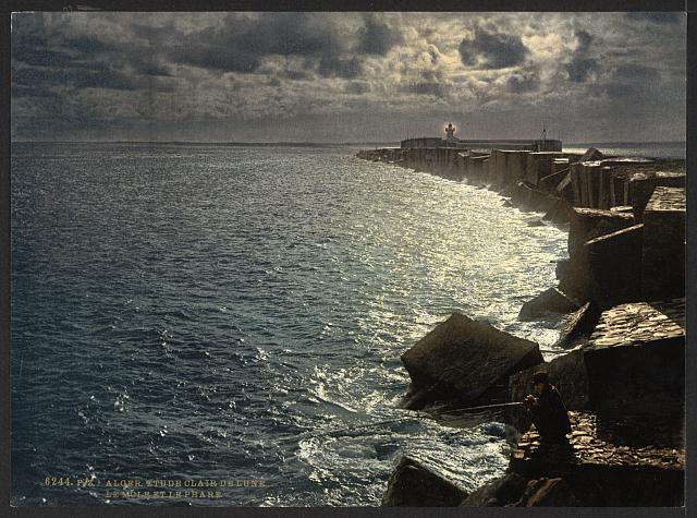 [Moonlight view, with lighthouse, Algiers, Algeria]