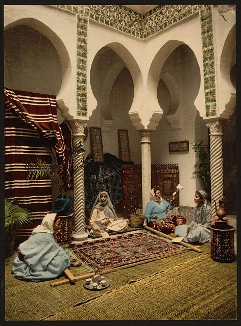 [Moorish women making Arab carpets, Algiers, Algeria]