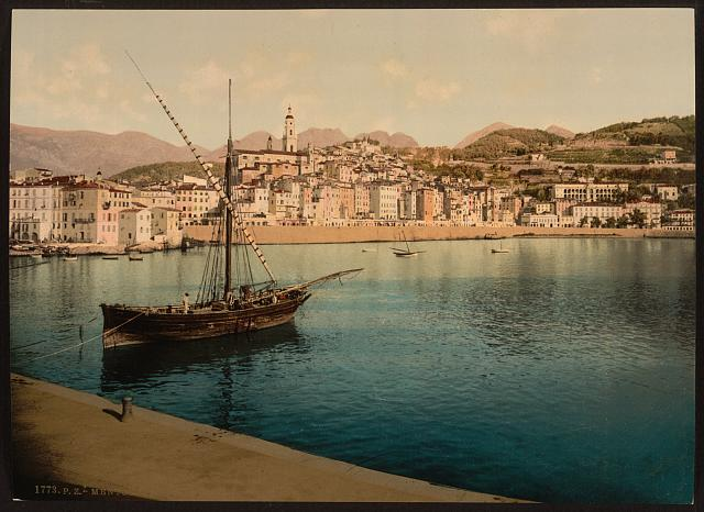 [The harbor and old town, Mentone, Riviera]