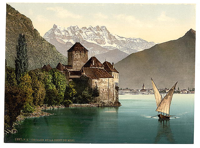 [Chillon Castle, and Dent du Midi, Geneva Lake, Switzerland]