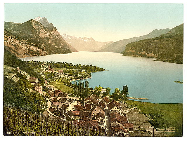 [Wallenstadt Lake, Weesen, near Leistkamm and view on the mountain range of Aliver, St. Gall, Switzerland]
