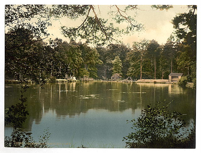 [Royal Military College, bathing lake, Sandhurst, Camberley, England]