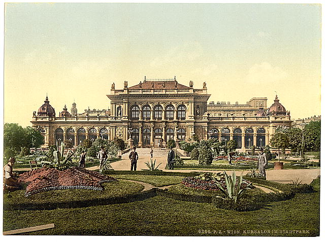 [The public garden and casino, Vienna, Austro-Hungary]