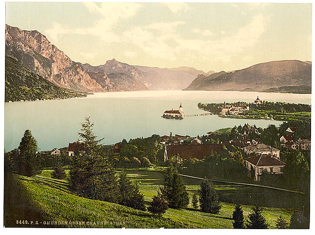 [Gmunden, view towards Traunkirchen, Upper Austria, Austro-Hungary]