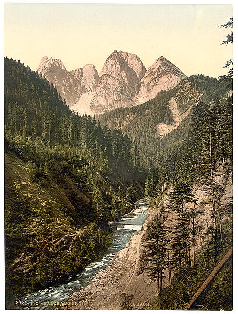 [View on the Gosaubach, Upper Austria, Austro-Hungary]