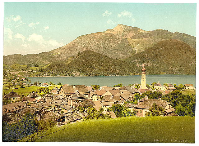 [St. Gilgen, towards the Schafberg, Upper Austria, Austro-Hungary]