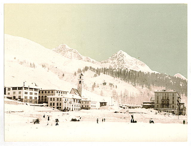 [St. Moritz, Grisons, Switzerland, in winter (reversed)]