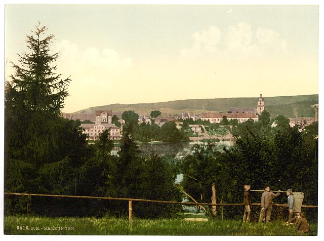 [Salzungen (i.e., Bad Salzungen), with the castle, from Seeberg, Thuringia, Germany]