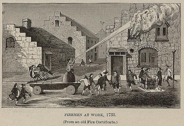 Firemen at work, 1733 (From an old Fire Certificate)