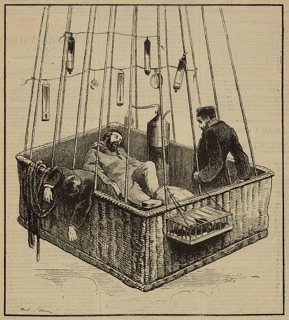 "[View of journalist Joseph Crocé-Spinelli, naval officer Henri Sivel, and Gaston Tissandier in the basket of the balloon, ""Zénith,"" after losing consciousness due to lack of oxygen after reaching an altitude of nearly 28,000 ft., near Paris, France, April, 1875]"