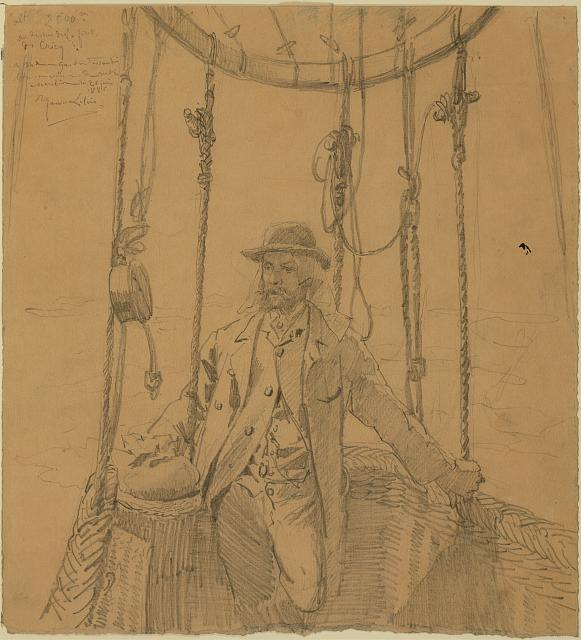 [Gaston Tissandier, French balloonist, full-length portrait standing in basket of a balloon]