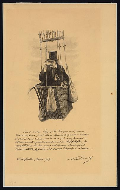 [Félix Nadar, half-length portrait, standing in the basket of a balloon, holding binoculars]