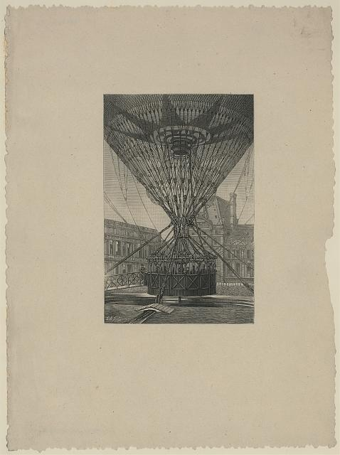[Lower part of a large captive balloon moored to a launching platform showing network of ropes and balloon basket with about 10 occupants]
