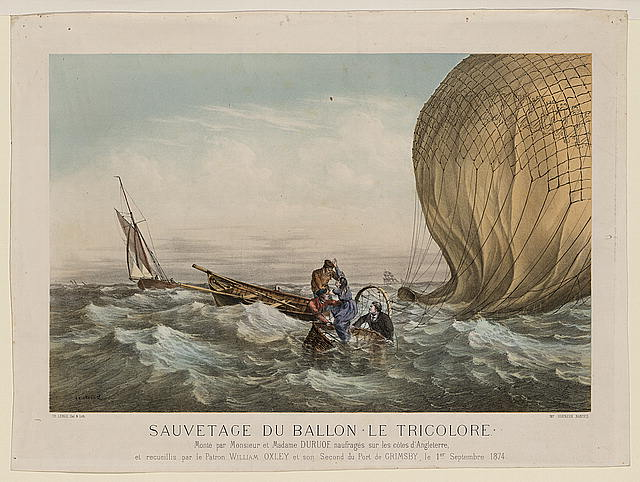 "Sauvetage du ballon ""Le Tricolore"" Monté par Monsieur et Madame Duruof, naufragés sur les côtes d'Angleterre, et recueillis par le patron William Oxley et son Second du Port de Grimsby, le 1er Septembre 1874 /"