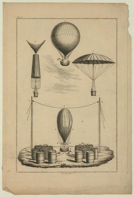 [Technical illustration shows four stages of André Garnerin's parachute: apparatus for inflating a balloon with hydrogen, a balloon in flight, parachute attached to ascending balloon, and parachute deployed in descent]