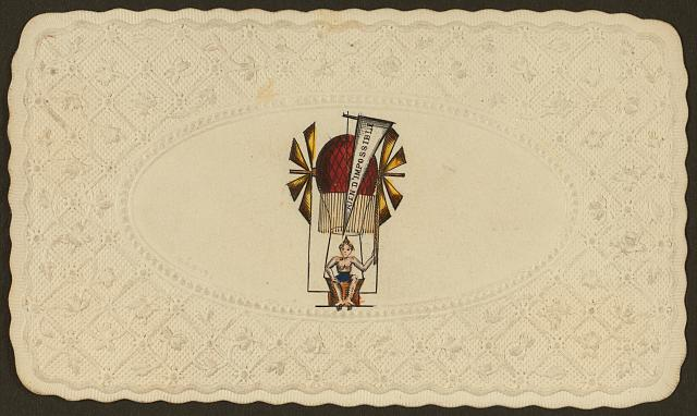"[Embossed card shows balloon labelled ""rien d'impossible"" ascending with passenger]"
