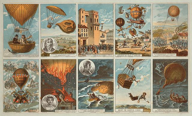 [Collecting cards with pictures of events in ballooning history from 1795 to 1846]