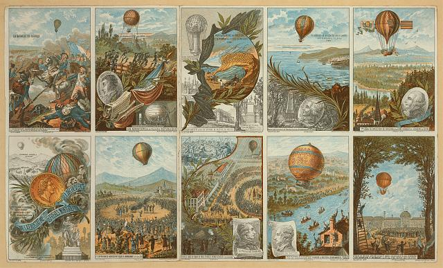 [Collecting cards with pictures of events in ballooning history from 1783 to 1883]