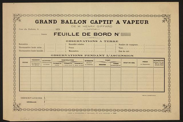 Grand ballon captif a vapeur, de M. Henry Giffard [text].