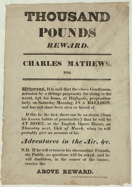 Thousand pounds reward. Charles Mathews, Esq.