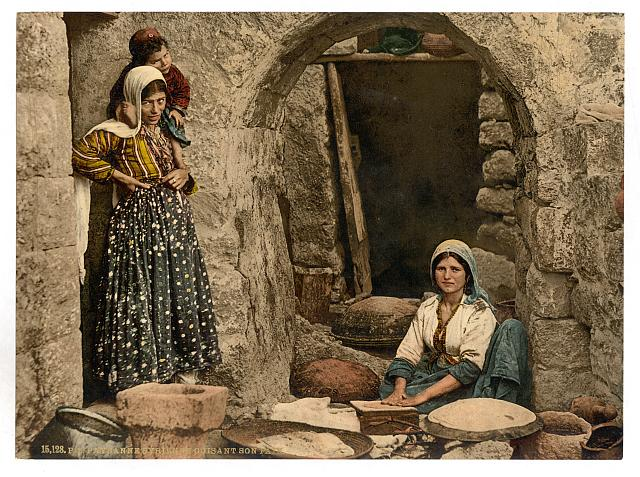 [Syrian peasant making bread, Holy Land]