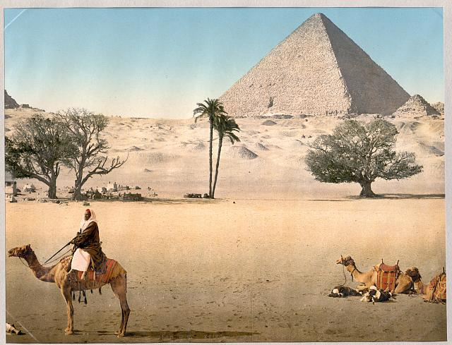 [Resting Bedouins and the Grand Pyramid, Cairo, Egypt]