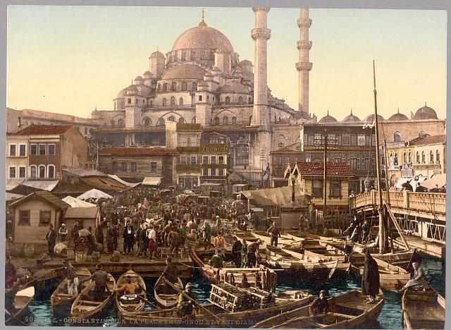 [Yeni Cami mosque and Eminönü bazaar, Constantinople, Turkey]