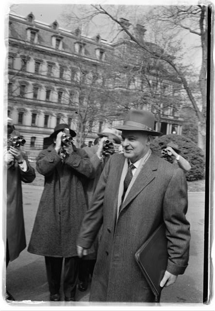 Mikhael A. Menshikov, new Soviet ambassador, outside White House, going to visit with President Eisenhower