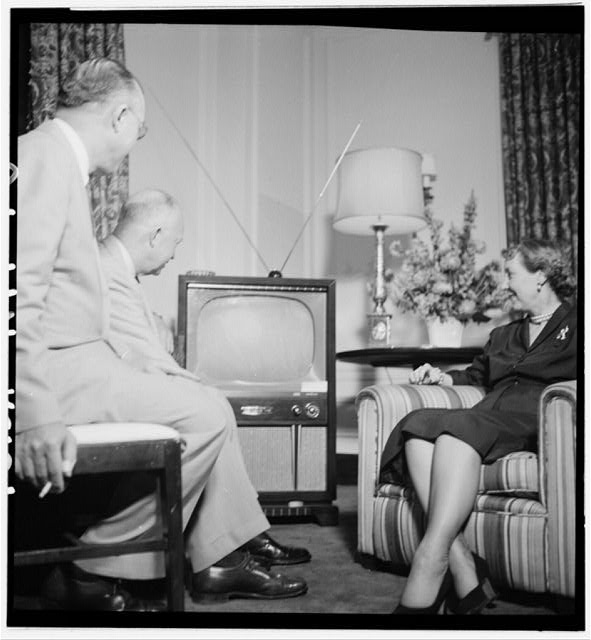 [Dwight and Mamie Eisenhower watching a television during the Republican National Convention, Chicago, Illinois]
