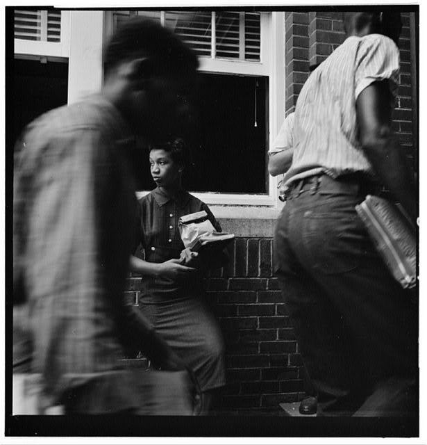 [African American students arriving without incident at Van Buren High School, Little Rock, Arkansas]