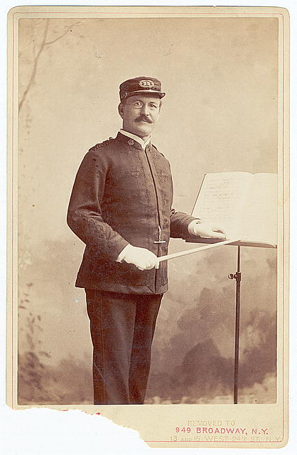 [Patrick S. Gilmore, three-quarter length portrait, standing, facing slightly right, wearing music conductor uniform]