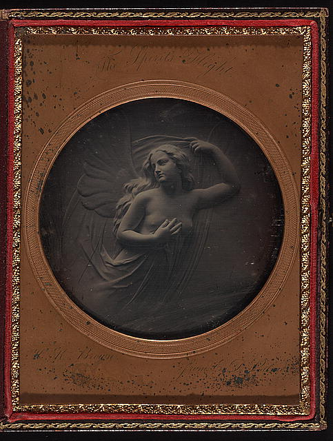 "[View of a sculpture relief ""The Spirit's Flight"" by E.D. Palmer]"