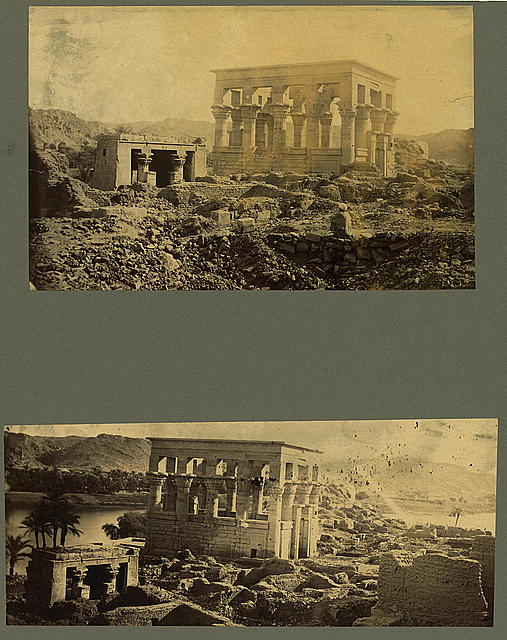 [Two photographs showing the ruins of a temple (Trajan's Kiosk or Pharaoh's Bed) on the island of Philae, Egypt]
