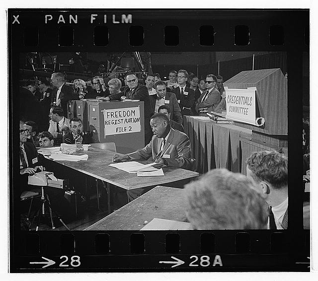 [Aaron Henry, chair of the Mississippi Freedom Democratic Party delegation, speaks before the Credentials Committee at the Democratic National Convention, Atlantic City, New Jersey, August 1964]