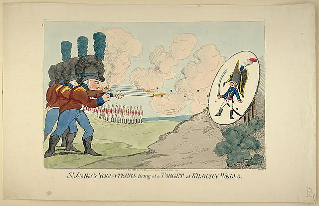 St. James's volunteers firing at a target at Kilburn Wells