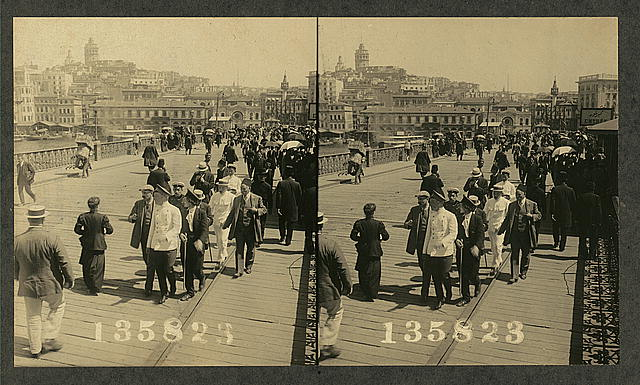 From the middle of the Galata Bridge looking toward the European part of Constantinople