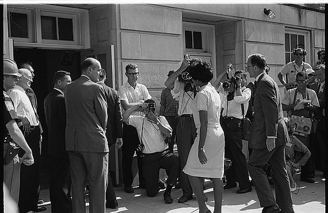 [Vivian Malone entering Foster Auditorium to register for classes at the University of Alabama]