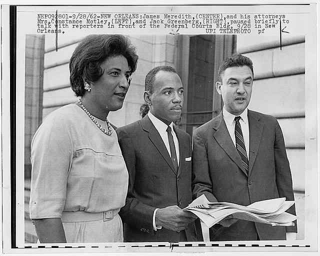 James Meredith, (center) and his attorneys, Mrs. Constance Motley, (left) and Jack Greenberg, (right) paused briefly to talk with reporters in front of the Federal Courts Building in New Orleans