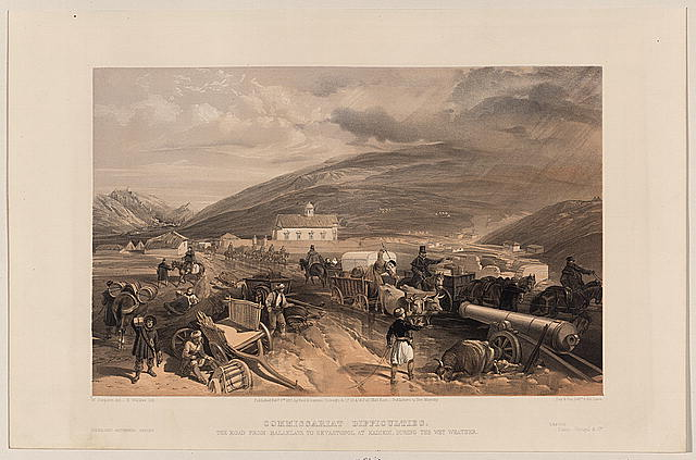 Commissariat difficulties - the road from Balaklava to Sevastopol, at Kadikoi, during the wet weather