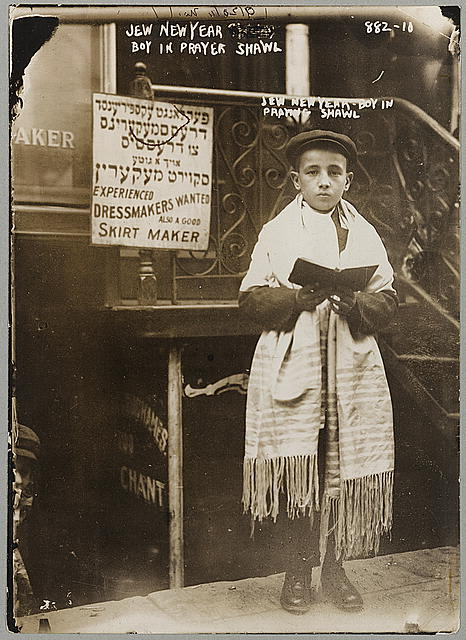 Jew new year - boy in prayer shawl