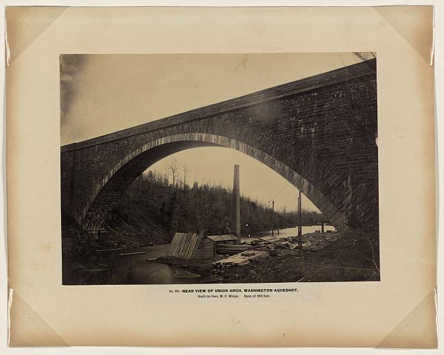 Near view of Union Arch, Washington aqueduct, built by Gen. M.C. Meigs, span of 220 feet