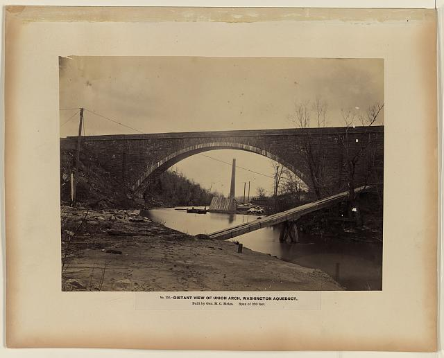 Distant view of Union Arch, Washington aqueduct, built by Gen. M.C. Meigs, span of 220 feet