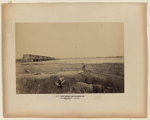 Long Bridge and Washington, from Maryland [i.e., Virginia] shore, June 1863
