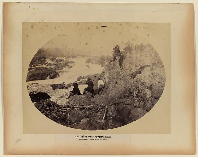 Great Falls, Potomac River, March 1864, from below looking up