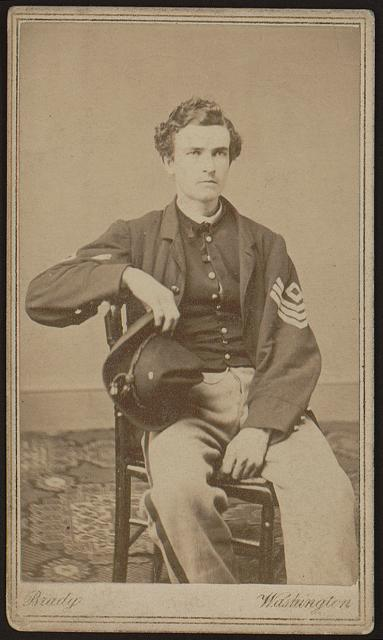 [Geo. B. Field, three-quarter length studio portrait, sitting in chair, facing slightly right, wearing military uniform]