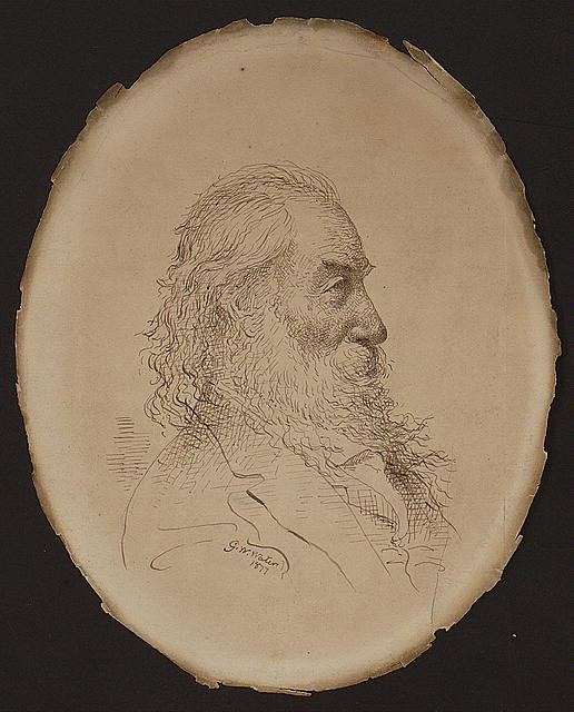 [Walt Whitman, head-and-shoulders portrait, right profile]