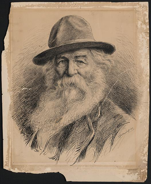 [Walt Whitman, head-and-shoulders portrait, wearing hat]