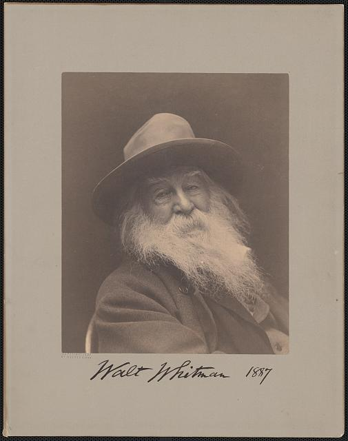 [Walt Whitman, head-and-shoulders portrait, facing right, wearing hat]